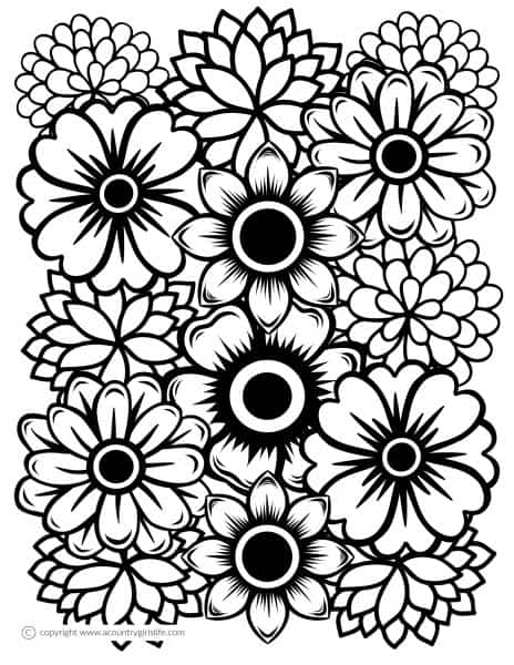 """Free Printable Adult Coloring Pages- """"Just Flowers"""" - A ..."""